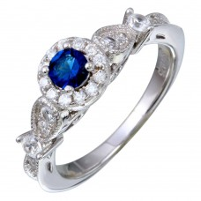 Sterling Silver Rhodium Plated Clear and Blue CZ Ring - STR01091