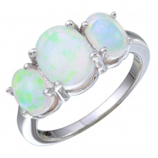 Sterling Silver Rhodium Plated 3 Opal Stone Ring - STR01092