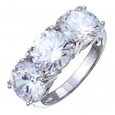 Sterling Silver Rhodium Plated 3 CZ Stone Ring - STR01093