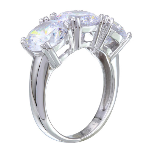 Wholesale Sterling Silver 925 Rhodium Plated 3 CZ Stone Ring - STR01093