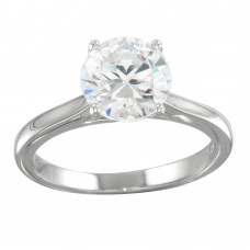 Wholesale Sterling Silver 925 Rhodium Plated CZ Stone Ring - STR01094