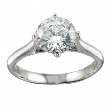 Wholesale Sterling Silver 925 Rhodium Plated CZ Stone Ring - STR01095
