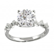 Wholesale Sterling Silver 925 Rhodium Plated CZ Ring - STR01096