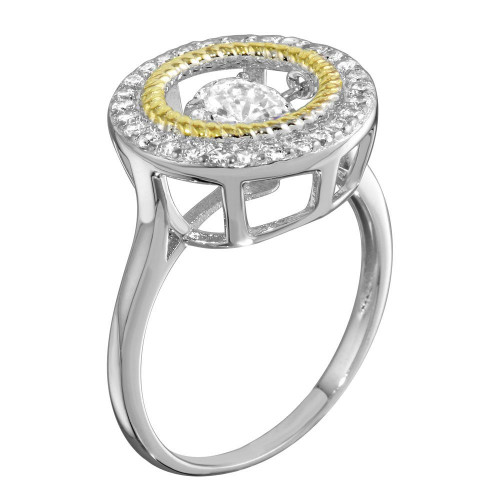Wholesale Sterling Silver 925 Rhodium Plated Open Circle Ring with Dancing CZ - STR01097
