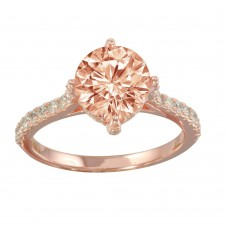Wholesale Sterling Silver 925 Rose Gold Plated Pink CZ Ring - STR01098