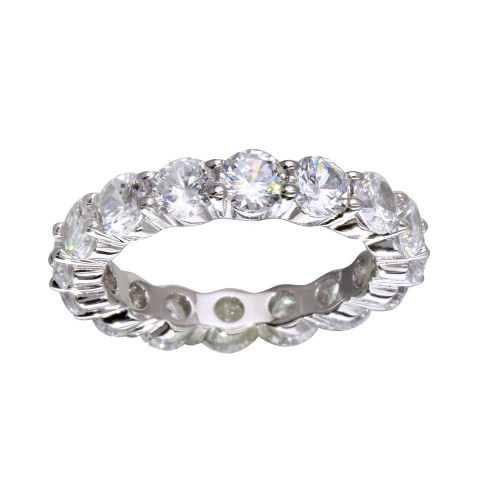 Wholesale Sterling Silver 925 Rhodium Plated CZ Eternity Ring - STR01100