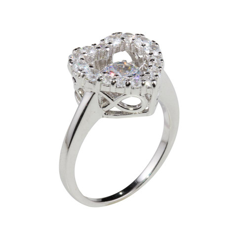 Wholesale Sterling Silver 925 Rhodium Plated Heart-Shaped Dancing CZ Ring - STR01101