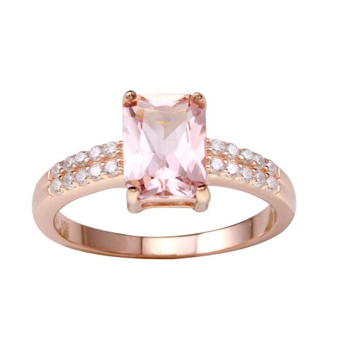 Wholesale Sterling Silver 925 Rose Gold Plated Pink CZ Stone Ring - STR01102