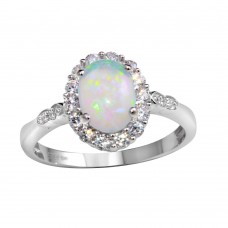 Wholesale Sterling Silver 925 Rhodium Plated Round Synthetic Opal Ring - STR01103