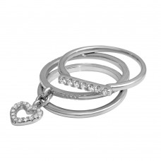 Wholesale Sterling Silver 925 Tri Stackable Hanging Heart Ring - STR01104RH
