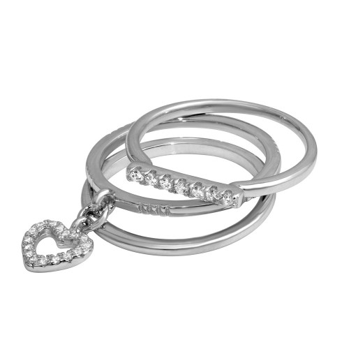 Wholesale Sterling Silver 925 Stackable Hanging Heart Ring - STR01104RH