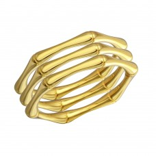 Wholesale Sterling Silver 925 Gold Plated Tri Bamboo Stackable Ring - STR01105GP