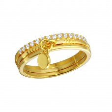 Wholesale Sterling Silver 925 Gold Plated Tri CZ Stackable With Hanging Disc Ring - STR01106GP