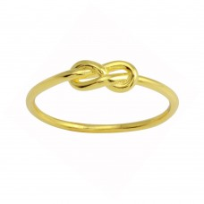 Wholesale Sterling Silver 925 Gold Plated Knot Ring - STR01107GP