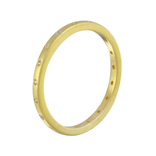 Wholesale Sterling Silver 925 Matte Finish Gold Plated CZ Eternity Ring - STR01112GP
