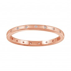 Wholesale Sterling Silver 925 Matte Finish Rose Gold Plated CZ Eternity Ring - STR01112RGP