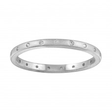 Wholesale Sterling Silver 925 Matte Finish Rhodium Plated CZ Eternity Ring - STR01112RH
