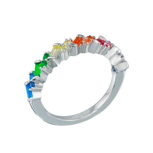 Wholesale Sterling Silver 925 Rhodium Plated Multi Color Half Eternity CZ Ring - STR01116