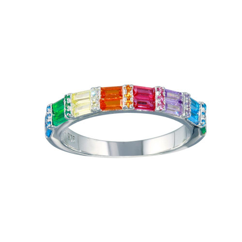 Wholesale Sterling Silver 925 Rhodium Plated Multi Color Half Eternity CZ Ring - STR01117