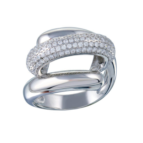Wholesale Sterling Silver 925 Rhodium Plated Clear Micro Pave CZ Twist Ring - STR01118