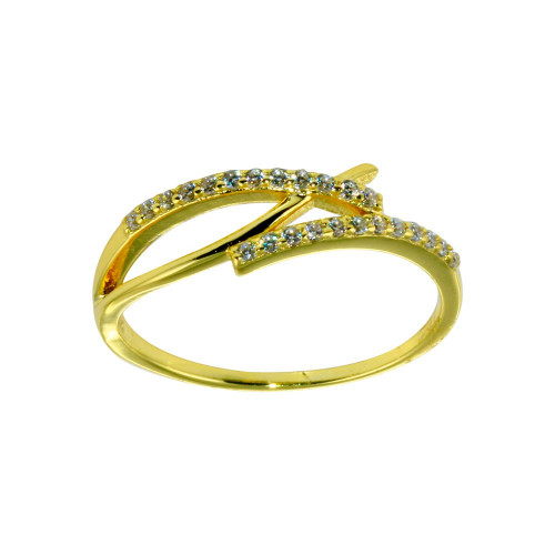 Wholesale Sterling Silver 925 Gold Plated CZ Fish Ring - STR01120GP