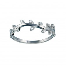 Wholesale Sterling Silver 925 Rhodium Plated Vine CZ Ring - STR01122
