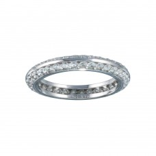 Wholesale Sterling Silver 925 Rhodium Plated Eternity Pave CZ Ring - STR01123
