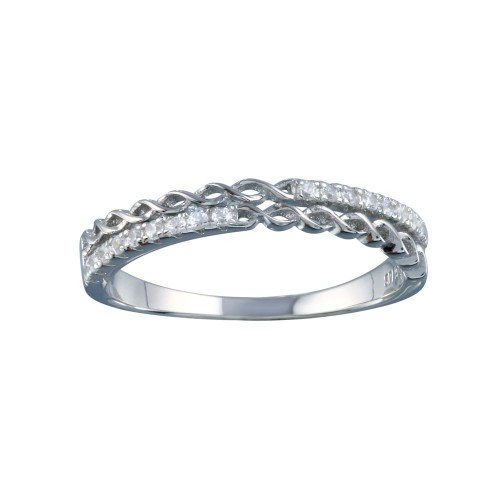 Wholesale Sterling Silver 925 Rhodium Plated Micro Eternity CZ Ring - STR01124