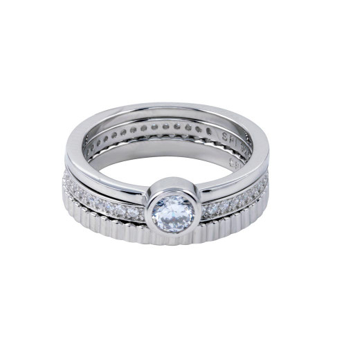 Wholesale Sterling Silver 925 Rhodium Plated Channel Center CZ Stackable Ring Set - STR01125
