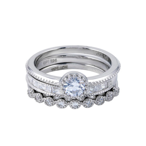 Wholesale Sterling Silver 925 Rhodium Plated CZ Stackable Ring Set - STR01126