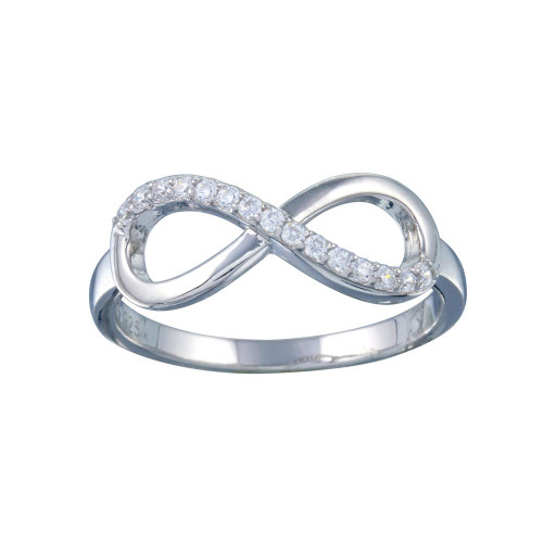 Wholesale Sterling Silver 925 Rhodium Plated Clear CZ Infinity Ring - STR01127