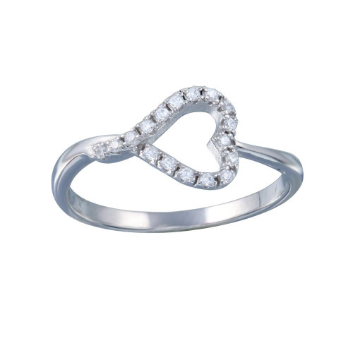 Wholesale Sterling Silver 925 Rhodium Plated Side Way Open Heart CZ Ring - STR01128