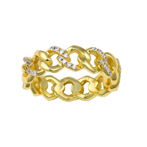 Wholesale Sterling Silver 925 Gold Plated Curb Design Link Ring 5.8mm - STR01129GP