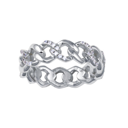 Wholesale Sterling Silver 925 Rhodium Plated Curb Design Link Ring 5.8mm - STR01129RH
