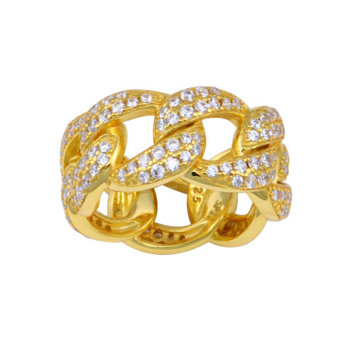 Wholesale Sterling Silver 925 Gold Plated Curb Design Link Ring 9.8mm - STR01130GP