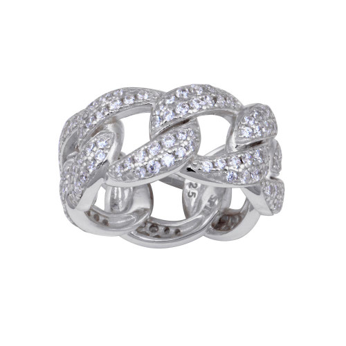 Wholesale Sterling Silver 925 Rhodium Plated Curb Design Link Ring 9.8mm - STR01130RH