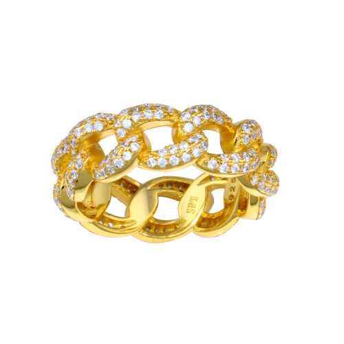 Wholesale Sterling Silver 925 Gold Plated Curb Design Link Ring 7.3mm - STR01131GP