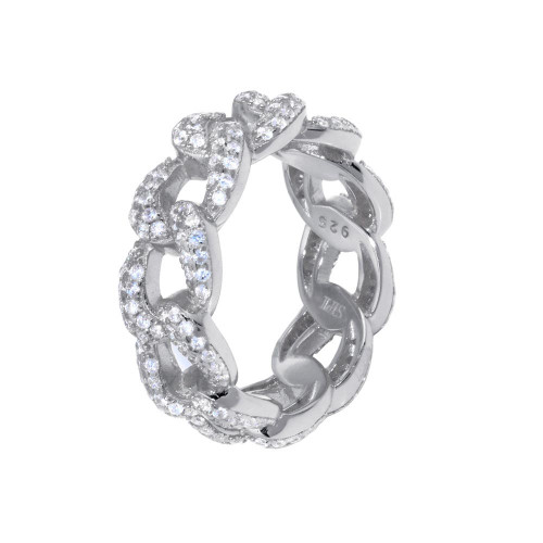 Wholesale Sterling Silver 925 Rhodium Plated Curb Design Link Ring 7.3mm - STR01131RH