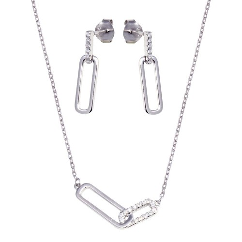Wholesale Sterling Silver 925 Rhodium Plated Bar Necklace and Earring Set with Clear CZ Stones- BGS00606