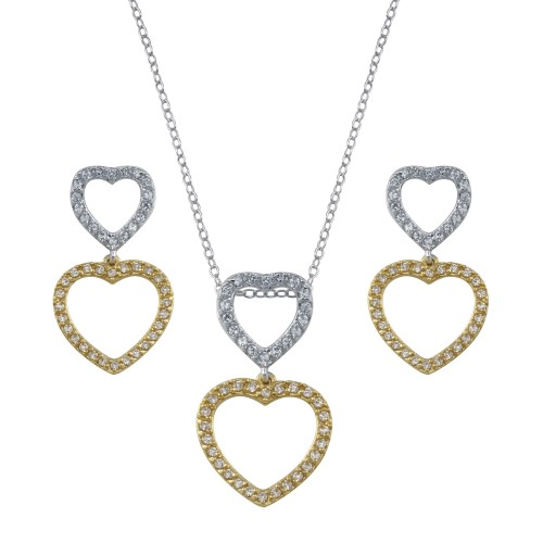 **Closeout Items** Wholesale Sterling Silver 925 2 Toned Open Heart  CZ Dangling Set - STS00019