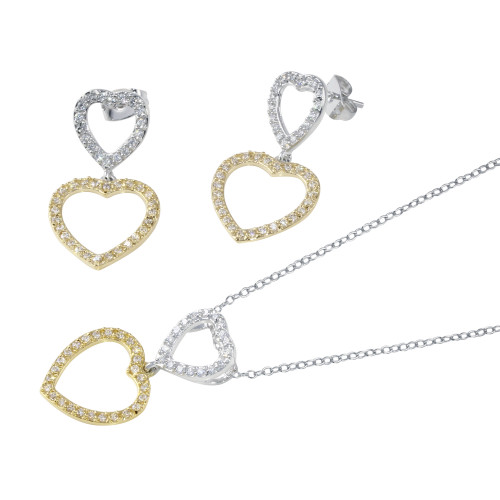 Wholesale Sterling Silver 925 2 Toned Open Heart  CZ Dangling Set - STS00019