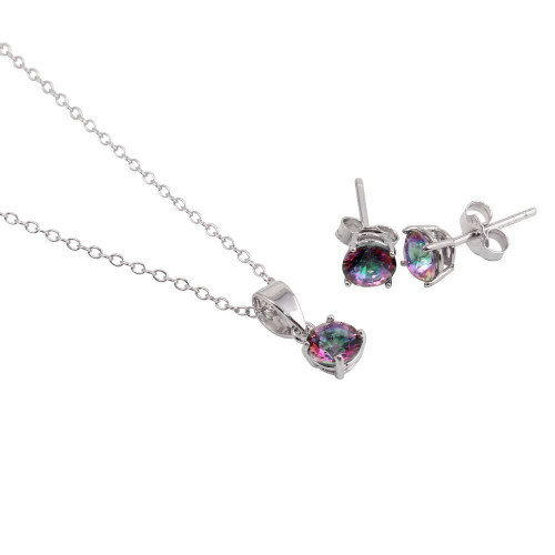 Wholesale Sterling Silver 925 Rhodium Plated Synthetic Mystic Topaz Set - STS00522ABD