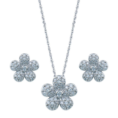 Wholesale Sterling Silver 925 Rhodium Plated Flower CZ Inlay Stud Earring and Necklace Set - STS00064