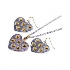 **Closeout** Wholesale Sterling Silver 925 Two-Toned Heart Necklace and Earrings Set with Mini Dangling Hearts - STS00072