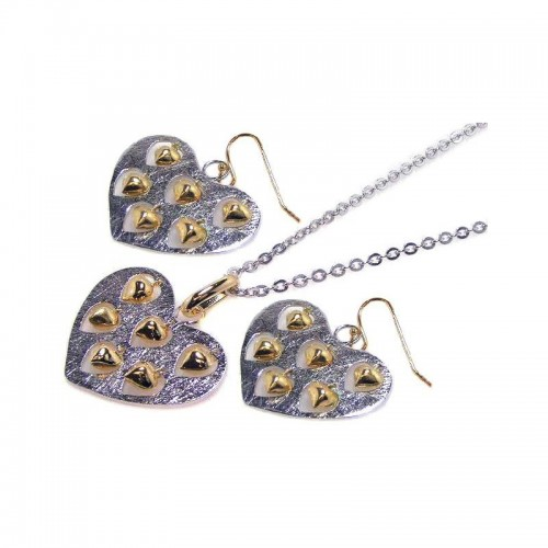 -Closeout- Wholesale Sterling Silver 925 Two-Toned Heart Necklace and Earrings Set with Mini Dangling Hearts - STS00072