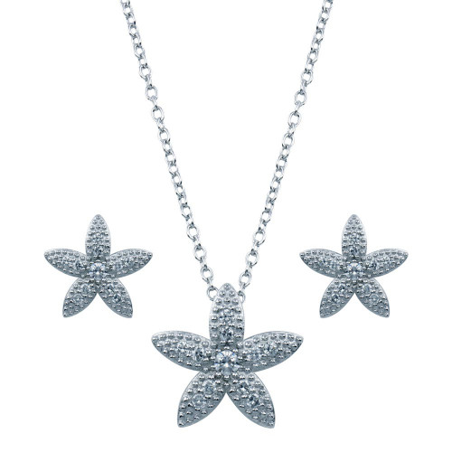 Wholesale Sterling Silver 925 Rhodium Plated Flower CZ Stud Earring and Necklace Set - STS00080