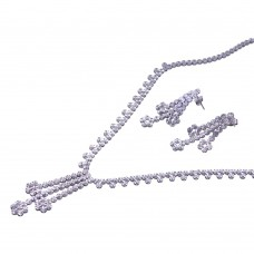 -Closeout- Wholesale Sterling Silver 925 Rhodium Plated Flower Link Set - STS00086