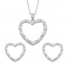 Wholesale Sterling Silver 925 Rhodium Plated Open Heart CZ Stud Earring and Necklace Set - STS00127