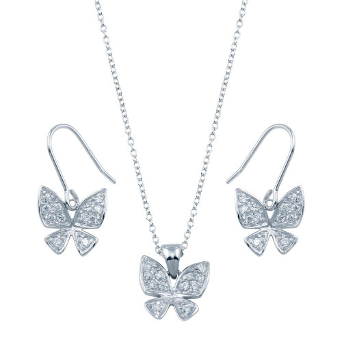 Wholesale Sterling Silver 925 Rhodium Plated Butterfly CZ Hook Earring and Necklace Set - STS00152