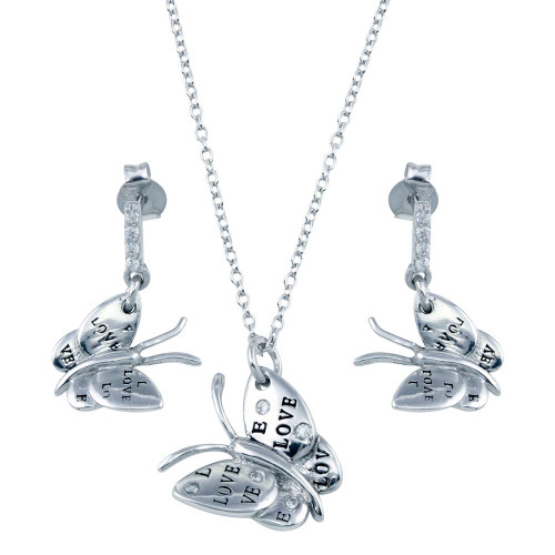 Wholesale Sterling Silver 925 Rhodium Plated Butterfly CZ Dangling Earring and Necklace Set - STS00162